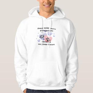 Hund Pawprints auf dem Herzen Hoodie
