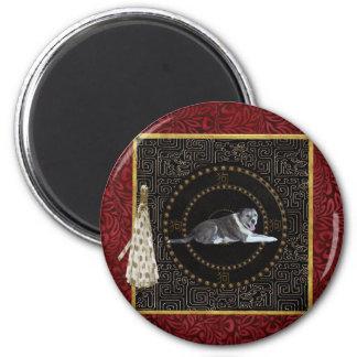 Hund, runde Form, Hund auf Chinesen, Quaste mit Runder Magnet 5,1 Cm