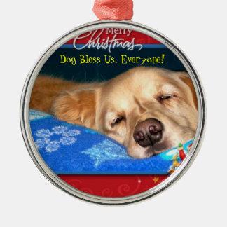Hund segnen uns, jeder! Gerahmte Silbernes Ornament