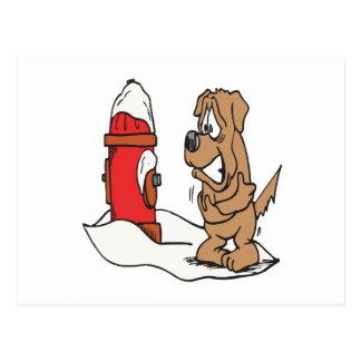 Hund und Hydrant Postkarte