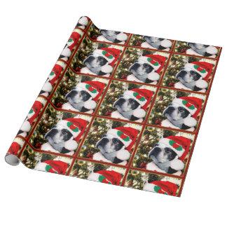 Hund Weihnachtsbostons Terrier Geschenkpapier