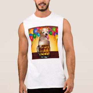 Hundbier-lustiger Hund-verrückter Hund-niedlicher Ärmelloses Shirt
