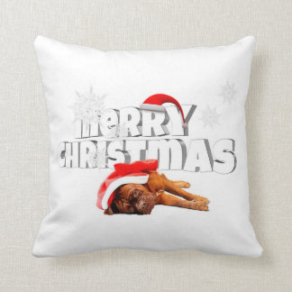 Hunddogue de Bordeaux Weihnachtsmannmütze-frohe Kissen