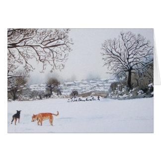Hunde, die Schneeszenen-Landschaftsmalereikunst Karte