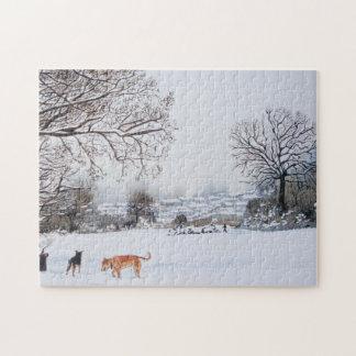 Hunde, die ursprüngliche Kunst der Schneeszene Puzzle