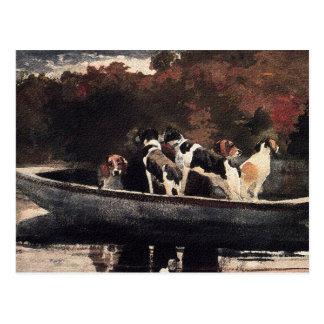 Hunde in einem Boot durch Winslow Homer Postkarte