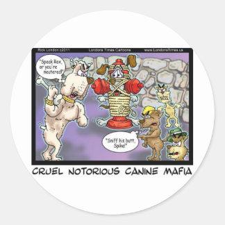 Hunde- Mafia-lustige T-Shirts-Karten-Tassen u. Runder Aufkleber