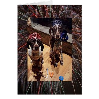 Hunde-und die Feuerwerks-Gruß-Karte des neuen Karte