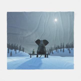 Hunde-und Elefant-Freund-Fleece-Decke Fleecedecke