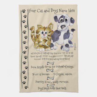 Hunde-und Katzen-Cartoon-Zitat-Küchen-Tuch Küchenhandtuch