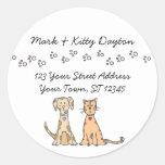 Hunde-und Katzen-Tatzen-Adressen-Etiketten Runder Sticker