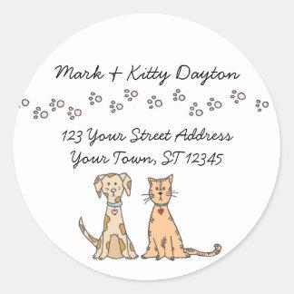 Hunde-und Katzen-Tatzen-Adressen-Etiketten Runder Aufkleber