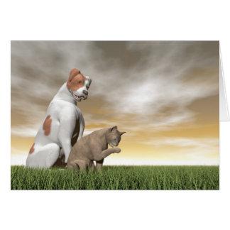 Hunde- und Katzenfreundschaft - 3D übertragen Grußkarte