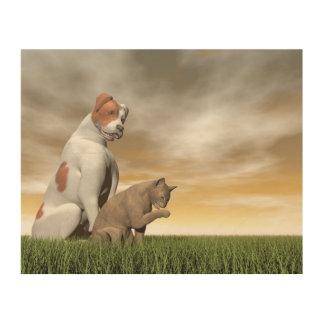 Hunde- und Katzenfreundschaft - 3D übertragen Holzwanddeko