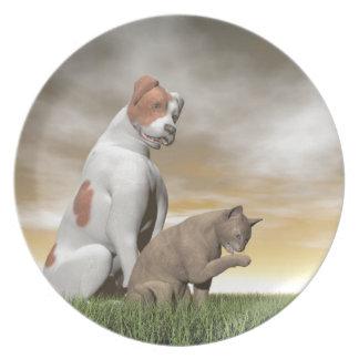 Hunde- und Katzenfreundschaft - 3D übertragen Teller