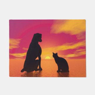 Hunde- und Katzenfreundschaft am Sonnenuntergang Türmatte