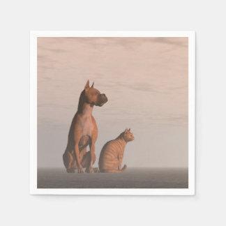 Hunde- und Katzenfreundschaft Papierserviette