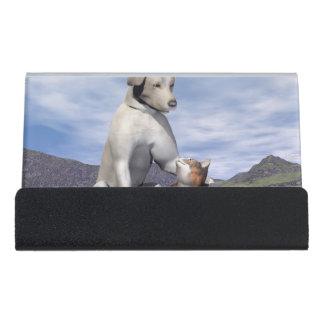 Hunde- und Katzenfreundschaft Schreibtisch-Visitenkartenhalter