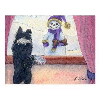 Hundeaufpassende Schneemann-Lagergeschenke Postkarte