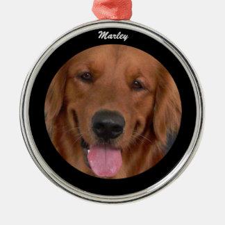 Hundeerstklassige runde Verzierung mit Namen Silbernes Ornament