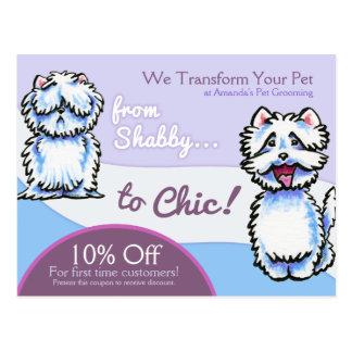 Hundegroomer-Shabby Chic Westie Kupon-Werbung Postkarte