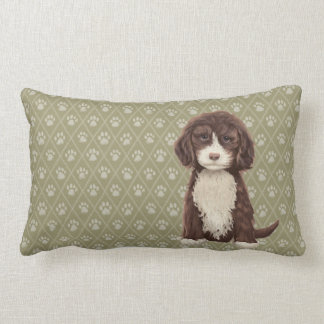 Brown Labradoodle/Goldendoodle Dog Green Pillow