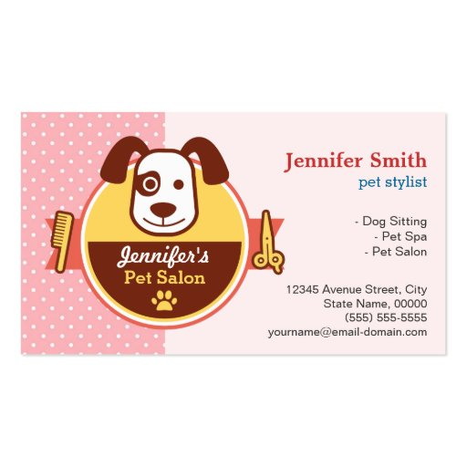 Hundehaustier-Wellness-Center-Salon - Visitenkarten Vorlage