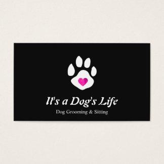Hundeherz-Tatzen-Haustier-Sitzen und Pflegen Visitenkarte