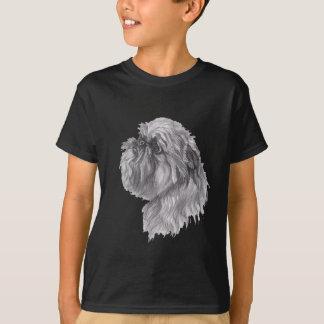 Hundeholzkohlen-Kunst-Zeichnen Brüssels Griffon T-Shirt