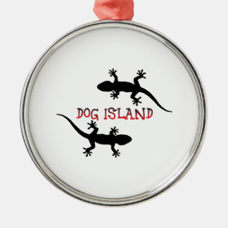 Hundeinsel Florida Rundes Silberfarbenes Ornament