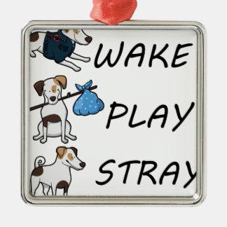 HundeJack-Russell-Terrier WECKEN SPIELSTRAY Silbernes Ornament
