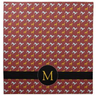 Hundejahr-Tierkreis-Geburtstags-Monogramm-Stoff Serviette
