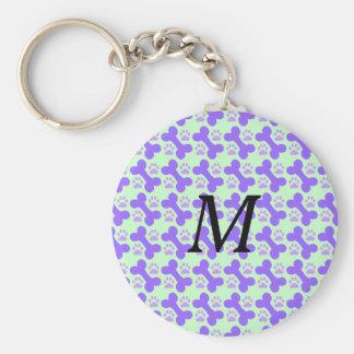 Hundeknochen-u. -tatzen-Monogramm Keychain Schlüsselanhänger
