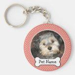 Hundeknochen-und Korallen-Polka-Punkt-Haustier-Fot Schlüsselband