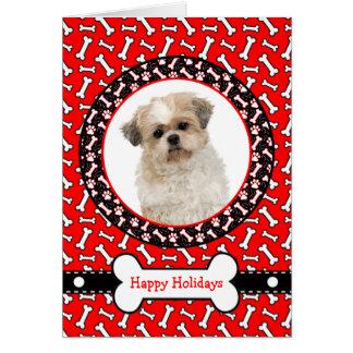 Hundeknochen-Weihnachtskarte mit dem Foto Ihr Karte