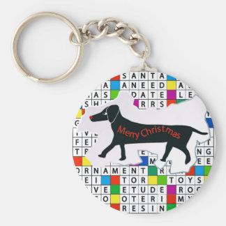 Hundekreuzworträtsel mit Dackel Schlüsselanhänger