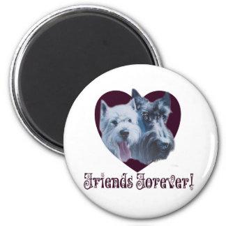 Hundekunst:  Freunde für immer! Runder Magnet 5,1 Cm