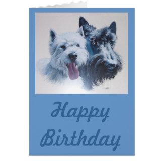 Hundekunst:  Scottie u. Westie Geburtstags-Karte Grußkarte