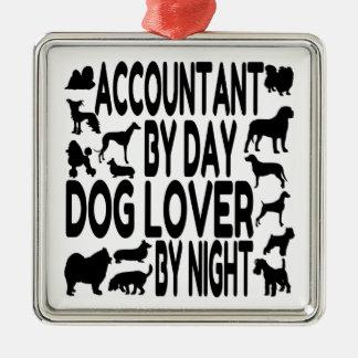 Hundeliebhaber-Buchhalter Quadratisches Silberfarbenes Ornament