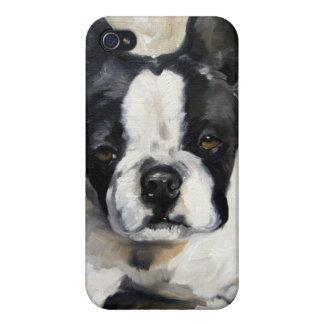 """Hundeliebhaber-Geschenk """"Kissen-Zeit-"""" Bostons Ter iPhone 4 Cover"""