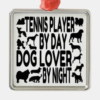 Hundeliebhaber-Tennis-Spieler Quadratisches Silberfarbenes Ornament