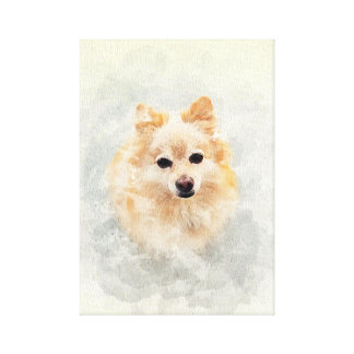 Hundeliebhaber! Wasserfarbe-Ingwer Pomeranain Hund Leinwanddruck