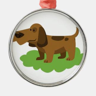 Hundeniedlicher Cartoonentwurf Rundes Silberfarbenes Ornament