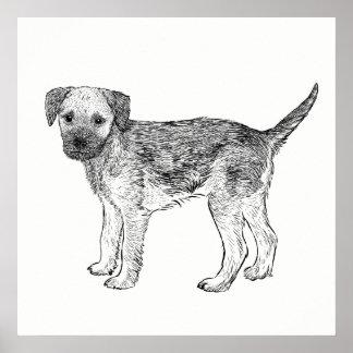 Hundeplakat-/-wand-Kunst-Grenze Terrier Poster