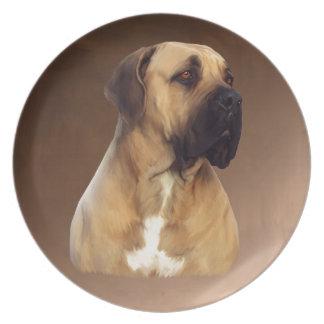 Hundeporträt-Malerei Dogue De Bordeaux Mastiff Melaminteller