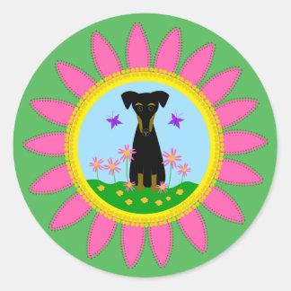 Hunderosa Gänseblümchen-Aufkleber Runder Aufkleber