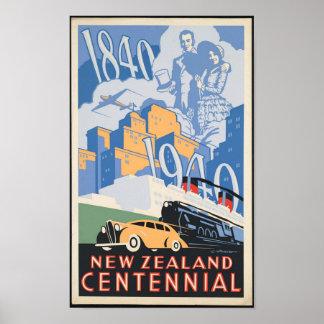 Hundertjähriges Reise-Plakat Neuseelands Poster
