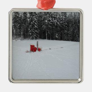 Hundeschlitten Silbernes Ornament