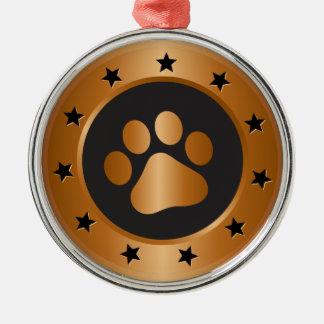 Hundeshow-Sieger-Bronzemedaille Rundes Silberfarbenes Ornament