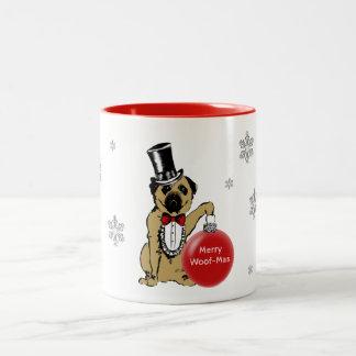 Hundeshowe Sir-Pug Ihre Weihnachtswünsche! Zweifarbige Tasse